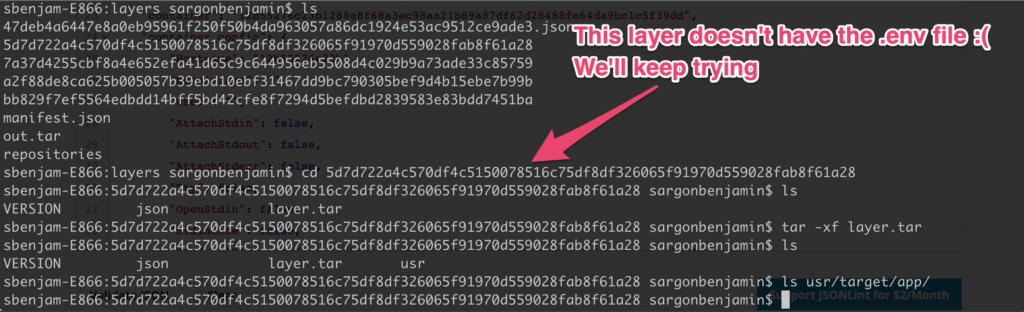 This layer doesn't have the .env file, which contains the secrets. We'll keep looking